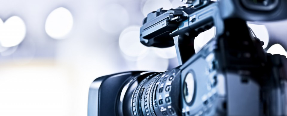 Professional HD video camera in studio